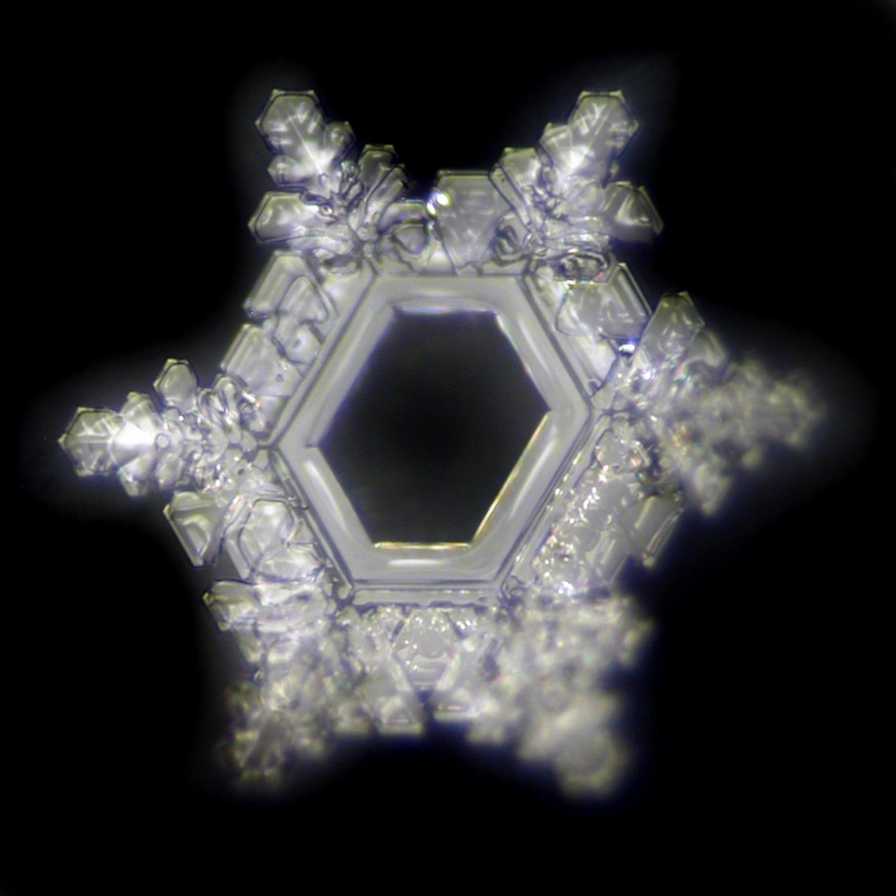 Wasserkristallbild nach Exposition auf einem Smartphone, das mit einem Swiss Harmony BioPatch harmonisiert wurde.