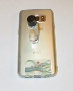 Water sample on the back of a smartphone, which was harmonized with a Swiss Harmony BioPatch.